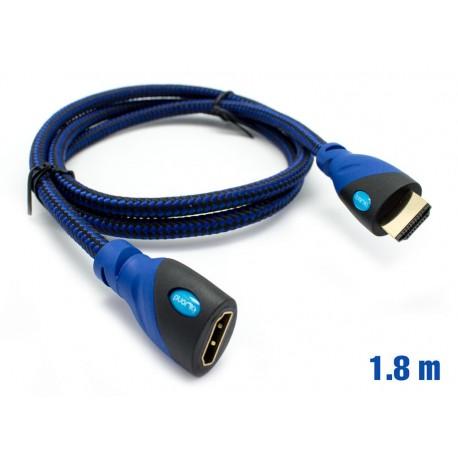 Cable HDMI Mallado v.1.4 M/H 30AWG Azul/Negro 1.8m BIWOND