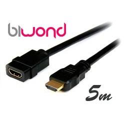 Cable HDMI Macho-Hembra 5m BIWOND