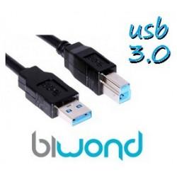 CABLE USB 3.0 IMPRESORA 1.8M BIWOND, TIPO A/M-B/M, NEGRO