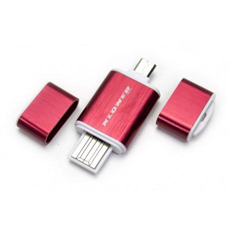 Lector OTG USB & Micro USB Rojo
