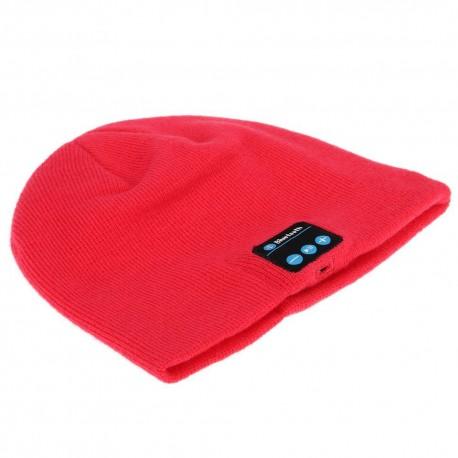 Gorro de Lana con Auriculares Bluetooth 3.0 Rojo