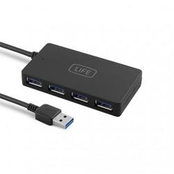 HUB 4 PUERTOS USB3.0 1LIFE NEGRO