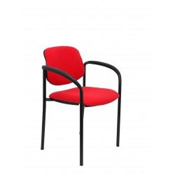 Silla fija Villalgordo bali rojo chasis negro con brazos