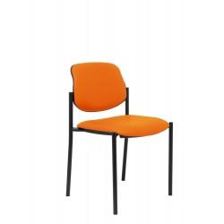 Silla fija Villalgordo similpiel naranja chasis negro
