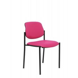 Silla fija Villalgordo similpiel rosa chasis negro