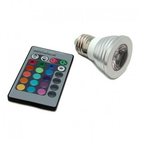 Bombilla LED E27 3W con Mando