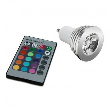 Bombilla LED GU10 3W con Mando