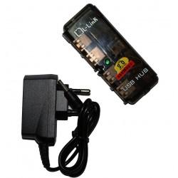 L-Link LL-UH-404L, USB 2.0, 1,5m, 480 Mbit/s, Poder, Negro, Corriente alterna