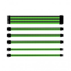 KIT EXTENSION CABLES COOLER MASTER VERDE/NEGRO MALLADOS/1X 24PIN/1X 4+4PIN/2X 6PIN/2X 8PIN/30CM CMA-SEST16GRBK1-GL