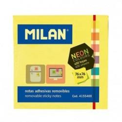 MILAN NOTAS ADHESIVAS CUBO 400 NOTAS 76X76 COLORES NEON