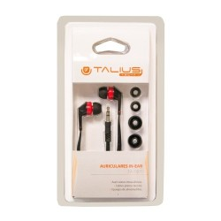 "Talius - Auricular EA-1001 - Intrauricular - Cable 1.2m - Jack 3.5"" - Cable Plano - Rojo/Negro"