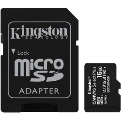 TARJETA MICROSD HC 16GB + ADAPTADOR KINGSTON CANVAS SELECT PLUS - CLASE 10 - 100MB/S