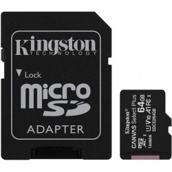 TARJETA MICROSD XC 64GB + ADAPTADOR KINGSTON CANVAS SELECT PLUS - CLASE 10 - 100MB/S