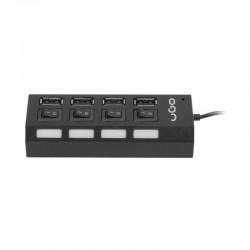 HUB USB UGO UHU MAIPO HU110 BLACK - 4*USB TIPO A 2.0 - CABLE 60CM