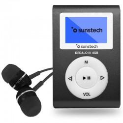 REPRODUCTOR MP3 SUNSTECH DEDALOIII 4GB BLACK - PANTALLA 2.79CM - FM 20 PRESINTONIAS - GRABADORA RADIO/VOZ - BATERÍA - CLIP SU