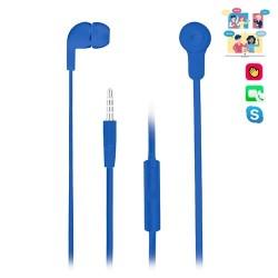 NGS - Auticulares de plástico - Cable plano 1.2 m - Control de Volumen - Tecnología Voice Assistant - 3.5 mm - Azul