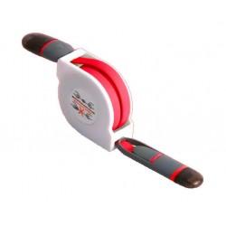 Cable Retráctil USB a Lightning+MicroUSB Rojo