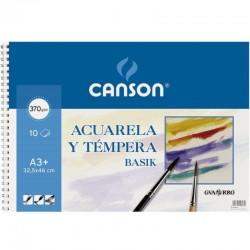 Cuaderno de acuarelas y témperas con espiral canson basik c200400697/ a3+/ 10 hojas