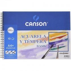 Cuaderno de acuarelas y témperas con espiral canson basik c200400698/ a4+/ 10 hojas