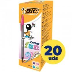 Bolígrafos de tinta de aceite bic cristal fun 895793/ 20 unidades/ colores surtidos