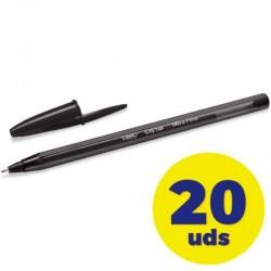Caja de bolígrafos de tinta de aceite bic cristal exact ultrafine 992603/ 20 unidades/ negros