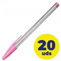 Caja de bolígrafos de tinta de aceite bic cristal fun 929056/ 20 unidades/ rosa