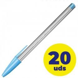 Caja de bolígrafos de tinta de aceite bic cristal fun 929074/ 20 unidades/ turquesa