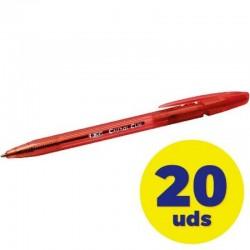 Caja de bolígrafos de tinta de aceite retráctil bic cristal clic 8507341/ 20 unidades/ rojos
