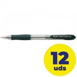 Caja de bolígrafos de tinta de aceite retráctil pilot super grip m/ 12 unidades/ negros