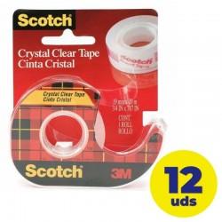 Caja de cinta adhesiva transparente en portarrollos 3m scotch crystal/ 1.2cm x 10m 12 unidades