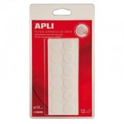 Puntos adhesivos de cierre blancos apli 13659/ ø1,9cm/ 12 unidades