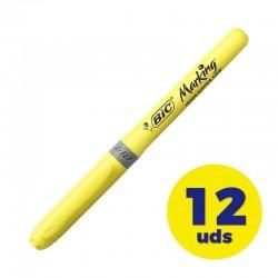 Caja de marcadores fluorescentes bic marking highlighter grip/ 12 unidades/ amarillos