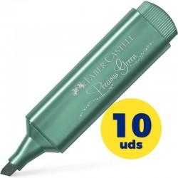 Caja de marcadores fluorescentes faber castell textliner 46 154639/ 10 unidades/ verde metálico