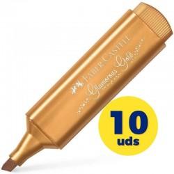 Caja de marcadores fluorescentes faber castell textliner 46 154650/ 10 unidades/ oro metálico