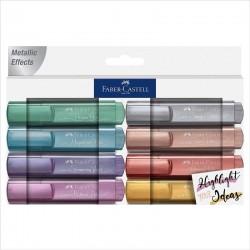 Marcadores fluorescentes faber castell textliner 46 metallic effects fab154645/ 8 unidades/ colores surtidos