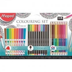 Set 33 piezas maped 897417 para mándalas/ 10 rotuladores graph'peps + 12 lápices dúo + 1 sacapuntas