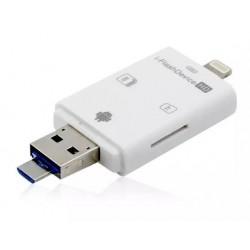 Lector Tarjeta SD/MicroSD 4 en 1 a USB/Micro USB/Lightning